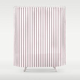 Princess Plum Pinstripe on White Shower Curtain