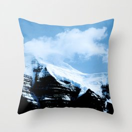 Dramatic Glacier Mountaintop Snow Framed By Billowy Clouds Throw Pillow