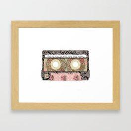Floral Cassette Tape Framed Art Print