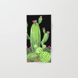 Flowering Cactus Bunch on Black Hand & Bath Towel
