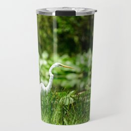 Great Egret in a Green Field Travel Mug