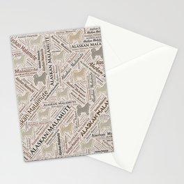 Alaskan Malamute dog Word Art Stationery Cards