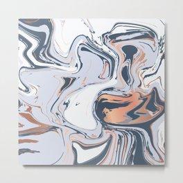 Liquid metal Marbled paint Metal Print