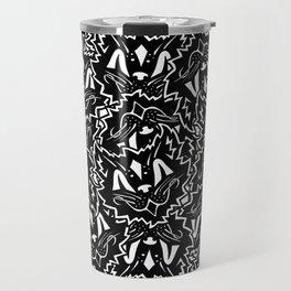 Vintage Black Cat Pattern Travel Mug