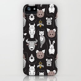 Friendly Geometric Farm Animals // black background black and white brown grey and yellow pigs queen bees lambs cows bulls dogs cats horses chickens and bunnies iPhone Case
