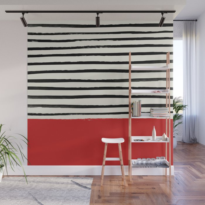 Red Chili x Stripes Wall Mural