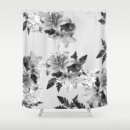 LILY SILVER GRAY WITH HYDRANGEAS AND FERNS Shower Curtain
