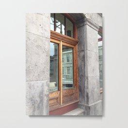 Old Montreal Wood Window Metal Print