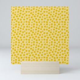 Irregular Small Polka Dots yellow Mini Art Print