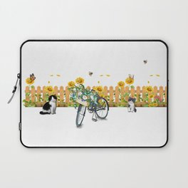 Cats Summer Garden Bike Butterflies Laptop Sleeve