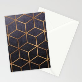 Dark Purple and Gold - Geometric Textured Gradient Cube Design Stationery Cards