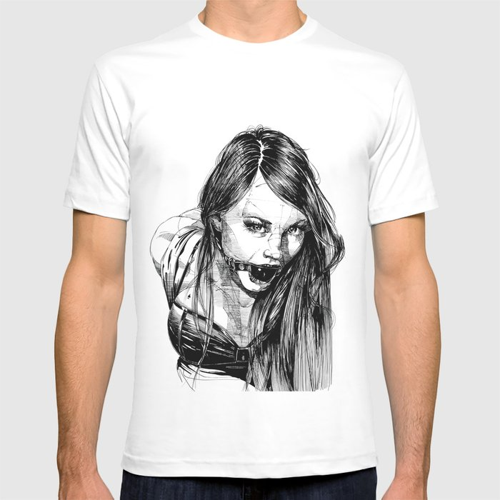 e8e2cca39f Ball Gagged Lady Portrait ©Yury Fadeev T-shirt by yuryfadeev | Society6