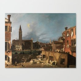 The Stonemason's Yard by Canaletto Canvas Print