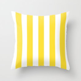 Banana yellow - solid color - white vertical lines pattern Throw Pillow