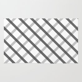 Gray White Square Pattern Geomeric Rug