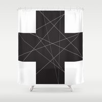 cross Shower Curtains featuring Cross by hyun yu