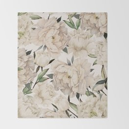 Peonies Pattern Throw Blanket