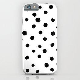 Hand-Drawn Dots (Black & White Pattern) iPhone Case
