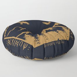 Two ravens flew Floor Pillow