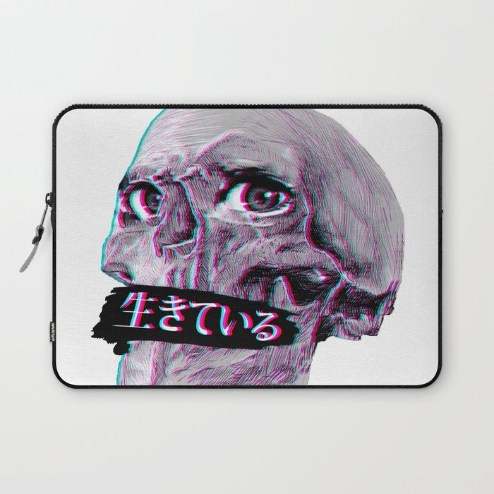 Skull Sad Japanese Anime Aesthetic Laptop Sleeve By Poser Boy