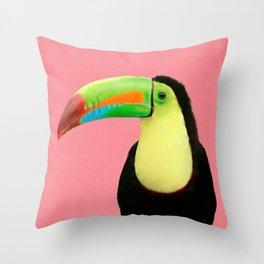 Toucan Bird - Pink Throw Pillow
