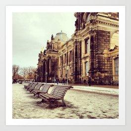 Dresden mini-series no. 1 - Winter riverside Art Print