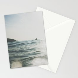 vintage style seascape with Paddle surfer, Stationery Cards