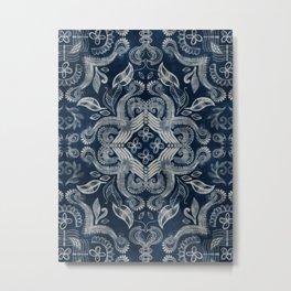 Indigo blue dirty denim textured boho pattern Metal Print