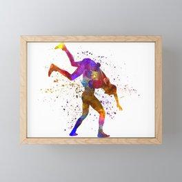 Wrestlers wrestling men 03 in watercolor Framed Mini Art Print
