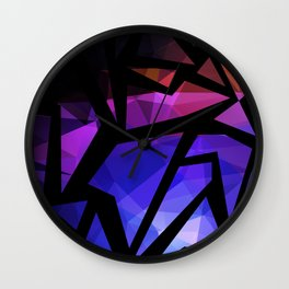 Abstract print of triangles polygon print. Bright dark design colors Wall Clock