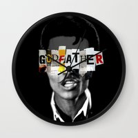 the godfather Wall Clocks featuring Godfather Mix 1 black by Marko Köppe