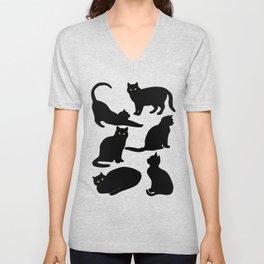 Black Cats Unisex V-Neck