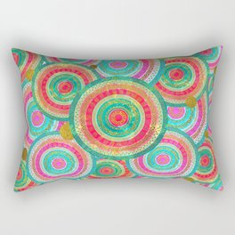 Colorful  Gold and Stained glass Tribal Boho Ethnic  Pattern Rectangular Pillow