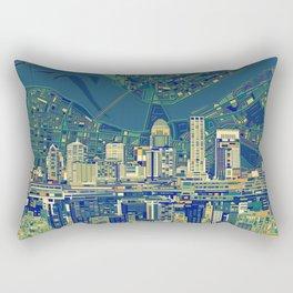 louisville city skyline green Rectangular Pillow