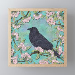 Raven and Apple Blossom Framed Mini Art Print