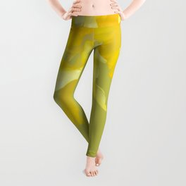 Sign of Spring - Yellow Narcissus on Spring Green Background #decor #society6 #buyart Leggings