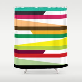 Geometric Pattern 73 (colorful stripes) Shower Curtain