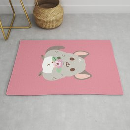 Chinchilla and flowers Rug