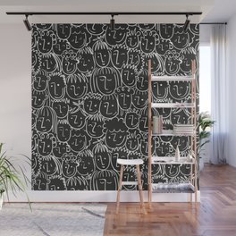 Black & White Hand Drawn People Pattern Wall Mural