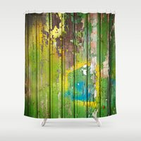 1d Shower Curtains featuring Wood Texture 1D by Robin Curtiss