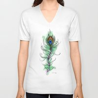 peacock feather V-neck T-shirts featuring Peacock Feather by Vicky Ink.