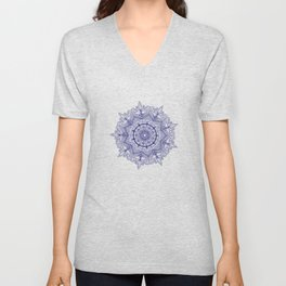 Blue Flower Mandala Unisex V-Neck