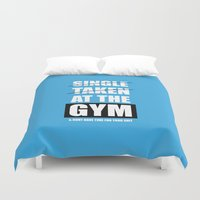 gym Duvet Covers featuring Lab No. 4 - At The Gym Gym Motivational Quotes Poster by Lab No. 4