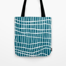 Net White on Blue Tote Bag