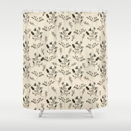 Ivory Cream and Bluebells and Bluebirds Floral Pattern Flowers in Blue and Bark Brown Shower Curtain