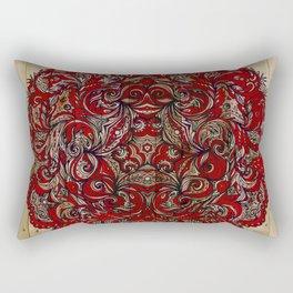 Red Indian Mandala on Wood Rectangular Pillow