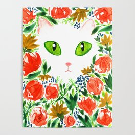 Cat Flor / Art Print / Jungle Cat Poster