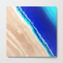 Artsy Modern Blue Teal Sandy Beach Watercolor Metal Print