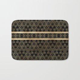 Elegant Black Gold Pattern Design Bath Mat