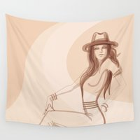 shabby chic Wall Tapestries featuring Shabby chic fashionista by JeraRS